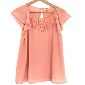 Soft Peach and Lace Top Size Large